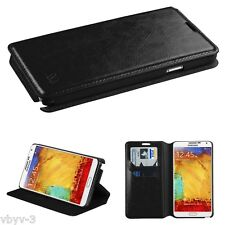 BLACK Leather Wallet Flip Folio Case Cover For Samsung Galaxy Note 3 III N9000