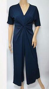 Pamela Mccoy Jersey Knit Knot Front V-Neck Wide Leg Jumpsuit Size XL NWT
