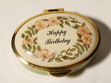 Vintage HAPPY BIRTHDAY  Staffordshire Enamel OVAL Trinket Pill Box Boxed #44