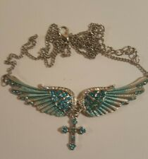 Angel Wing Christian Necklace  Blue