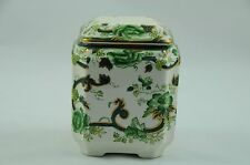 "Mason's Ironstone Lidded Jar / Tea caddy in Green Chartreuse Pattern ""Mint"""