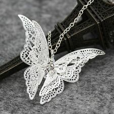 Women Fashion Jewelry Charm Hollow Butterfly Pendant Sweater Chain Necklace Gift