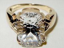 Gems TV 9ct Yellow Gold 6.116ct Antique Cut Glacier Topaz & Tanzanite Ring