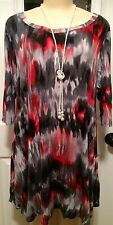 WOMENS PLUS DRESS 1X TUNIC TOP NEW 14 16 XL RED NWT CUTE JULY 4th SUMMER DEAL