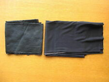 Vintage 1960s 1970s Black Nylon Tube Fabric Material & Free Satin Piece