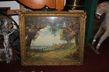 Antique R. Atkinson Fox Print-Herding Sheep-Gilded Gold Wood Frame-Indian Summer