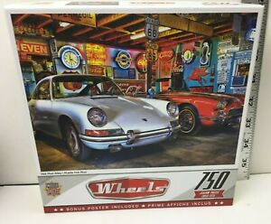 """Wheels Hot Rod Alley 750 Piece Puzzle 18"""" x 24"""" 32070 New Sealed Bonus Poster"""