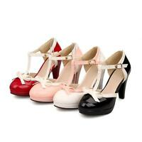 Women's Lolita Bowknot T-Strap Buckle High Heel Mary Jane Shoes Pumps Plus Size