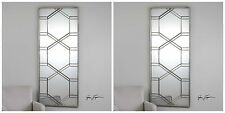 """TWO STATELY 70"""" RICH ANTIQUED SILVER LEAF METAL WALL MIRROR MODERN STYLE"""