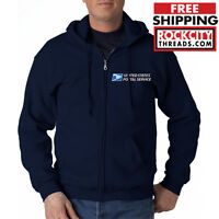 USPS POSTAL FULL ZIPPED NAVY HOODIE EMBROIDERED United States Service Zipup Zip