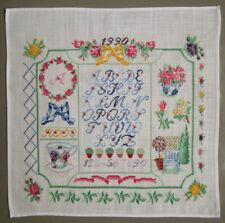 1990 SWEET VINTAGE CROSS STITCH SAMPLER ALPHABETS FLOWERS GARDEN