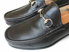 GUCCI Horsebit Roos Dark Brown Leather Classic Loafers Size 8.5 E $650 *