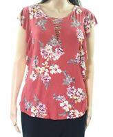 Bobeau 164055 Women's Rust Floral Ruffle Lattice-Neck Knit Top Size Medium