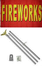 3x5 Advertising Fireworks Red Yellow Flag Aluminum Pole Kit Set 3'x5'