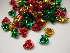 100 Christmas Flower Beads 10mm Aluminium Metal Beads Christmas Jewellery Crafts