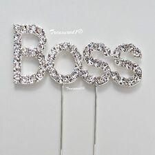 """# """"jefe"""" Pastel Pick Decoración De Metal Plateado Topper Transparente Rhinestone Diamante Gemas"""
