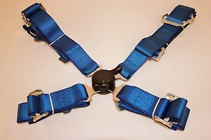 """Universal Blue Racing Seat Belt Safety Harness 4 Point 2"""" Wide"""