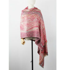 Pure Silk Wool Jacquard Blanket Scarf Winter Shawl Wrap Stole Pashmina Red Pink