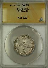 1700 England Silver Shilling Coin William III ANACS AU-55