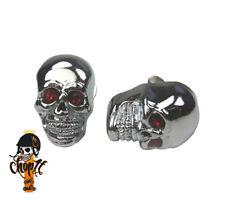 Metall Kennzeichenschrauben Totenkopf Skull chrom mit roten Augen
