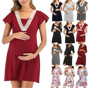 Pregnant Women's Maternity Nursing Dress Pregnancy Breastfeeding Nightdress