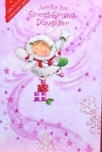 """Glittered Christmas Fairy On Presents """"GREAT GRANDDAUGHTER"""" Christmas Card"""