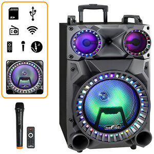 """12"""" PORTABLE BLUETOOTH PA DJ PARTY SPEAKER LIGHTS USB RECHARGEABLE BATTERY MIC"""