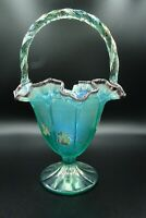 "Fenton Handpainted Teal/Purple Vase Basket/Grapes & Vines by I. Robinson 11"" H"