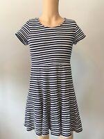 Fat Face Dress Tunic Top UK Size 12 Womens Ladies Blue White Stripe Summer Zip