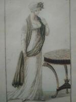 Gravure mode 1804 Empire Costume parisien rare n°8 Journal des dames & des modes