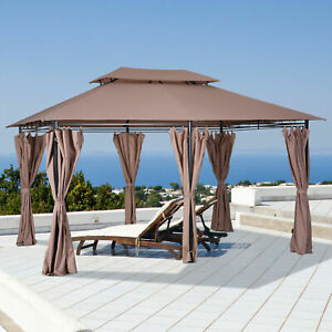 10'x13' Outdoor 2-Tier Vented Canopy Steel BBQ Party Tent Shelter Shade Gazebo