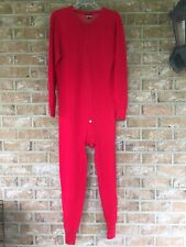 Red 1 Piece Profile Thermal Union Suit Back Flap