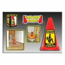 Caution Cone Toxic Gas, give it 10 minutes toilet warning sign joke gift present