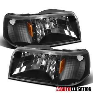 For 1993-1997 Ford Ranger 1PC Style Black Headlights w/ LED+Corner Signal Lamps