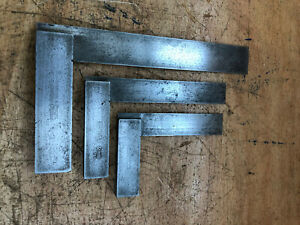 """3x Moore & Wright Engineers Squares 6 1/4"""", 4 1/4"""" ex MOD 1949, 3 1/4"""""""