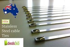 Pack of 100 Cable Ties Stainless Steel (SS 304) Heavy duty 7.9 x 600mm Exhaust