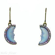 Kirks Folly Petite Moon Shadow Leverback Earrings Brass-Tone & Lavender-Blue