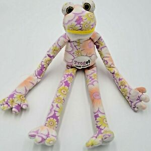 """Flower Power Pastel Frog Plush Stuffed Soft Toy Hanging Arms 15"""" Forget Me Not"""