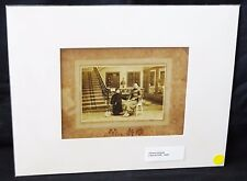 """1900 Chinese Mounted B&W Photo """"Mother & Boy Child & Bunny"""" by marked (Mil)"""