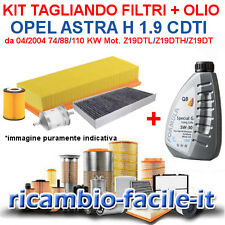 KIT TAGLIANDO OPEL ASTRA H 1.9 CDTI 4 FILTRI +  OLIO Q8 5W30 DEXOS 2 Z19DTH 74KW