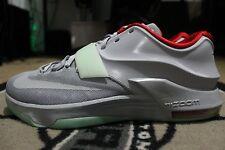 New Nike KD 7 NikeiD Yeezy Platinum Gray Red Green Size 13.5 GLOW IN THE DARK