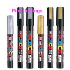 Uni Posca Paint Marker Gold & Silver Extra Fine Medium Point 3 Size Total 6 Pens