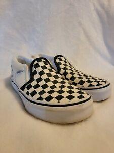 Vans Slip On Black/White Checkerboard Skate Shoes  Kids Youth Size 1