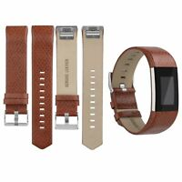Replacement Strap For FitBit Charge 2 Sports Leather Watch Wristband Band Brown