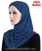 2 Pc Cotton Long Amira Hijab #8 Royal Blue Islamic Clothing Scarf Shawls Hat