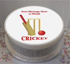 "Novelty Personalised Cricket Bat, ball & stumps 7.5"" Edible Icing Cake Topper"