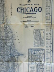 Chicago Clason's Double Indexed Map 1920-30 pocket map detailed city plan