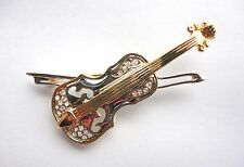 New Brooch Silver Gold Tone Violin Crystal Pin Musical Instrument Free Shipping