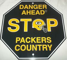 "NEW NFL 12""x12"" PLASTIC STYRENE TEAM STOP SIGN - GREEN BAY PACKERS"