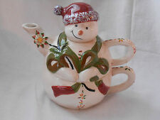 Christmas Tracy Teapot Cup For One Let's Hang Mistletoe Snowman EUC